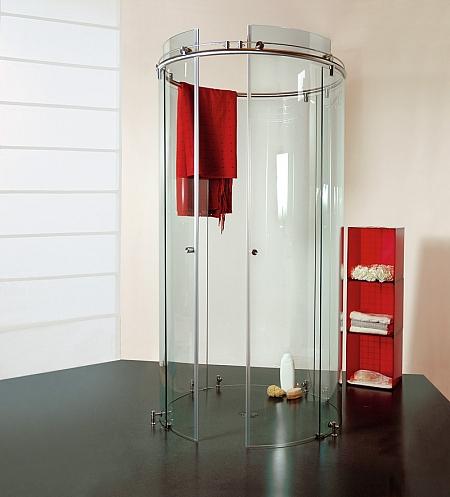 bild gebogenes glas abb runddusche. Black Bedroom Furniture Sets. Home Design Ideas